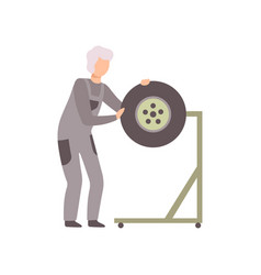 professional repairman repairing tire wheel auto vector image