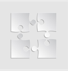 Puzzle piece square infographic four step diagram vector
