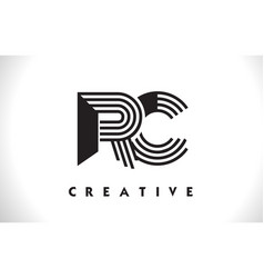 Rc logo letter with black lines design line letter vector