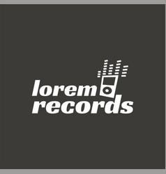 records music recordign studio logo label vector image