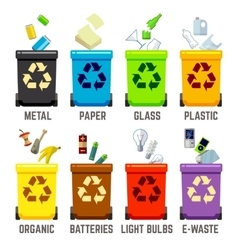 Recycle bins with different types of waste vector
