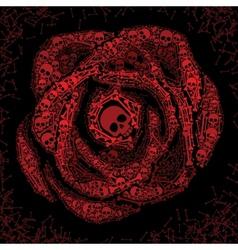 Red rose of skulls and bones vector