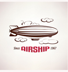 retro airship emblem template vector image