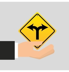 Road sign fork arrow icon vector