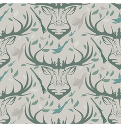 Seamless pattern for hunting theme With deer duck vector