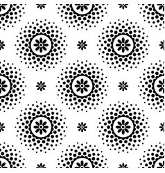 seamless pattern with black flowers and halftone vector image