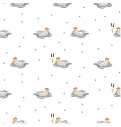 seamless pattern with cute ducks on a pond vector image