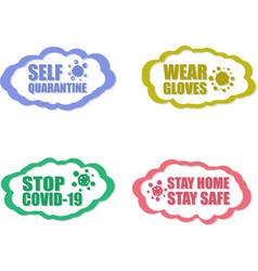 Self quarantine wear gloves stop covid-19 stay vector