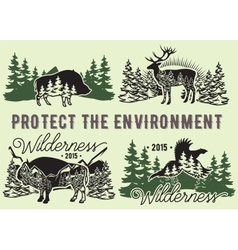 set emblems with wild animals forest vector image