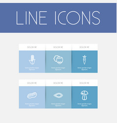 set of 6 editable kitchenware outline icons vector image