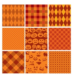 Set of Halloween plaid seamless patterns in orange vector image