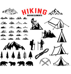 set of hiking outdoor mountains design elements vector image