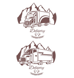 Set of logos heavy truck vector