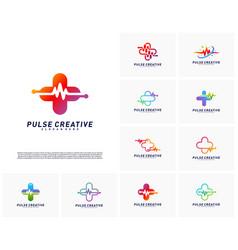 set of plus medical pulse logo design concept vector image