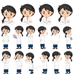 Set science student in different poses vector