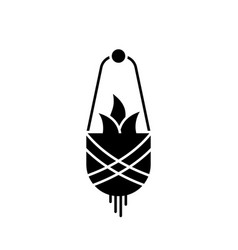 Silhouette macrame plant outline icon hanging vector