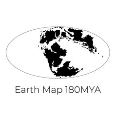Silhouette map earth 180mya monochrome vector