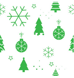 simple christmas seamless pattern with green vector image