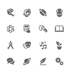 Simple School Subject Icons vector image