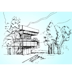 sketch the architecture House vector image