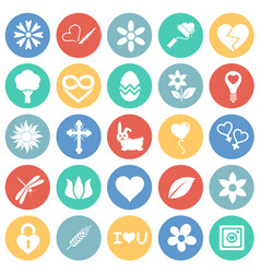 Spring icons set on color circles background for vector