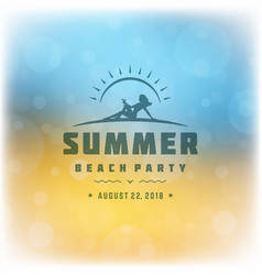 summer beach party label or badge typography vector image
