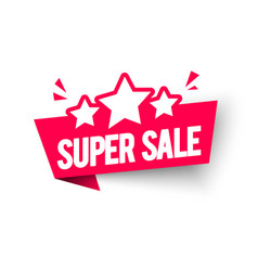 super sale label flag with star icon vector image