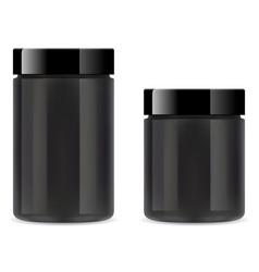 supplement jar black plastic protein bottle tub vector image