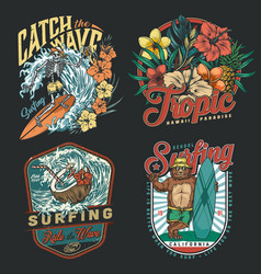 Surfing vintage colorful emblems vector