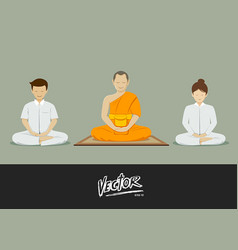 thai monks and people meditation vector image vector image