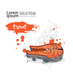 trout hand drawn watercolor food on white vector image