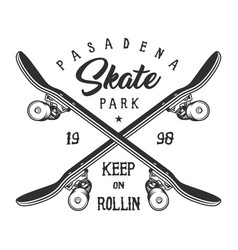 Vintage monochrome sport skateboarding logo vector