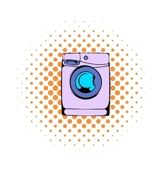 Washing machine comics icon vector