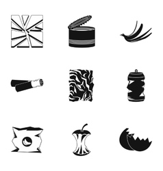 Waste icons set simple style vector image