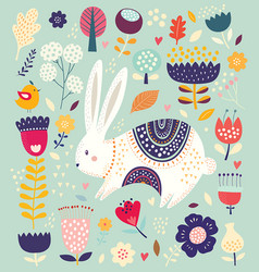 With cute bunny vector