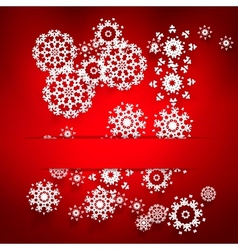 with white snowflakes on red vector image