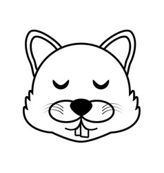 wolf face animal outline vector image