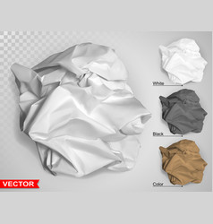 Wrinkled crumpled realistic carton paper ball vector