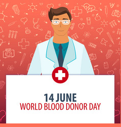 14 june world blood donation day medical holiday vector image vector image
