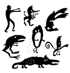 Cartoon monsters silhouettes vector image vector image