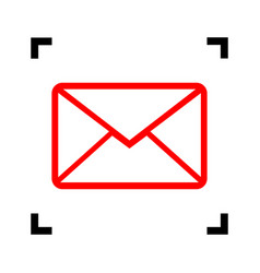 letter sign red icon inside vector image