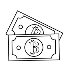 line digital bitcoin bills and electronic vector image vector image