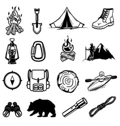 set of hiking tourism icons design elements for vector image