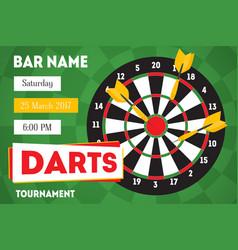 cartoon darts tournament horizontal invitation for vector image