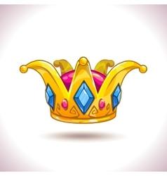 Fancy cartoon golden crown vector image