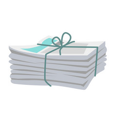pile of newspapers bound with string on white vector image