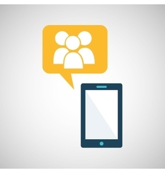 smartphone blue cartoon group bubble speech vector image