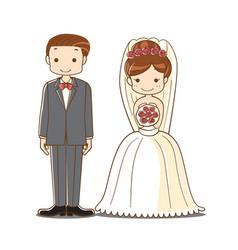 wedding couple cartoon vector image