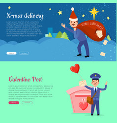 xmas delivery and valentine post banner with vector image