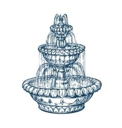 Beautiful outdoor marble fountain sketch vintage vector
